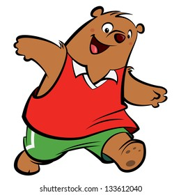 Cartoon bear with athletic suit playing and running wearing sport clothes