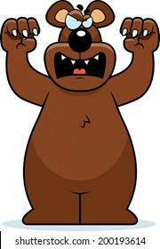 A cartoon bear with claws out ready to attack.