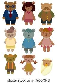 cartoon bear family set icon