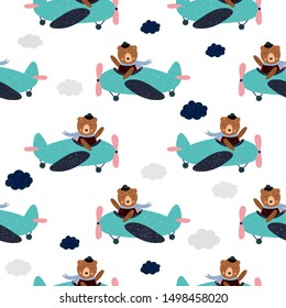 Cartoon  bear flies on airplane, animal pilot, childish vector illustration, seamless pattern. Design for fabric, wrapping, textile, wallpaper, apparel. Vector illustration.