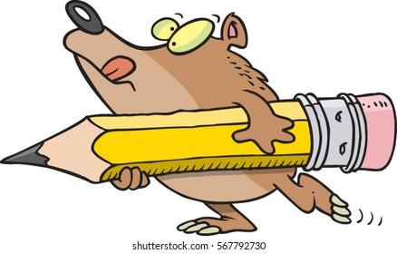 cartoon bear holding a large pencil