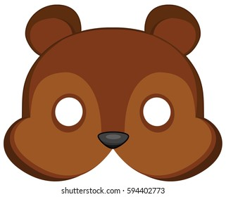 cartoon bear mask for children masquerade. Vector Mask pattern.