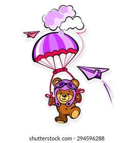 Cartoon Bear in a pilot hat with parachute
