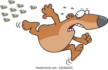 cartoon bear running fromangry bees