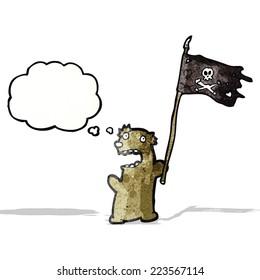 cartoon bear waving flag
