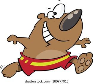 cartoon bear wearing a swimsuit