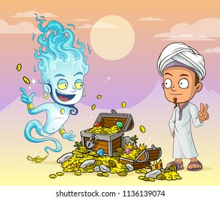 Cartoon bearded blue jinn and arabian boy character with lamp and treasure chest with diamonds, gold coins and gems. On violet mountains background.