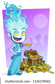 Cartoon bearded blue jinn character with lamp and treasure chest with diamonds, gold coins and gems. On violet arabian background.