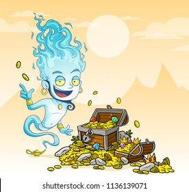 Cartoon bearded blue jinn character with lamp and treasure chest with diamonds, gold coins and gems. On yellow mountains background.