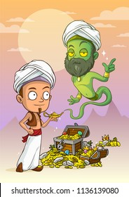 Cartoon bearded green jinn and arabian boy character with lamp and treasure chest with diamonds, gold coins and gems. On violet mountains background.