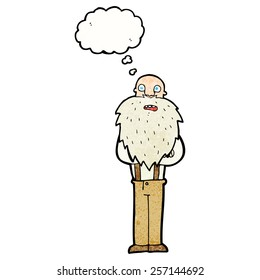 cartoon bearded old man with thought bubble
