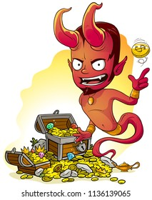 Cartoon bearded red evil jinn devil character with lamp and treasure chest with diamonds, gold coins and gems. On yellow background.