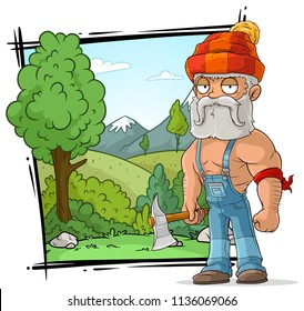 Cartoon bearded strong lumberjack character with axe on nature landscape background