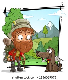 Cartoon bearded tourist traveler character with cute dog on nature landscape background. Vector set.