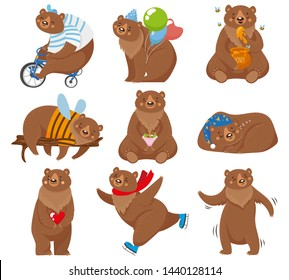 Cartoon bears. Happy bear, grizzly eats honey and brown bear character in funny poses. Wildlife or circus skating mascot, zoo grizzly bears animal. Isolated vector illustration icons set