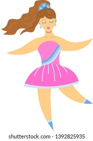 Cartoon beautiful girl with closed make-up eyes and brown wavy hair, gathered in a ponytail and flying in the wind, in a pink dress with blue stripes, in blue shoes and with long shiny earrings
