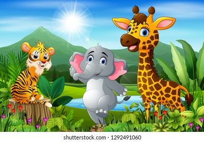 Cartoon of the beautiful landscape with different animals