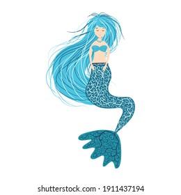 Cartoon beautiful little mermaid, Siren. Sea theme. illustration on a white background
