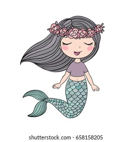 Cartoon beautiful little mermaid in a wreath. Siren. Sea theme. vector illustration on a white background.