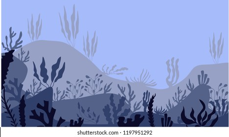 Cartoon beautiful underwater scene, underwater marine life. Panoramic underwater seascape. a marine sea blue bottom silhouette with seaweed, algae and coral. Vector illustration.