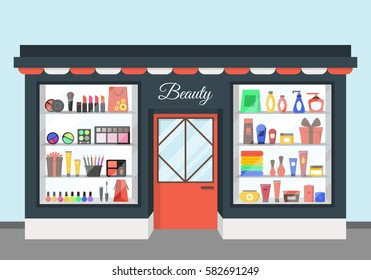 Cartoon Beauty Cosmetics Store Showcase with Products for Woman Flat Design Style. Vector illustration