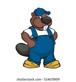 Cartoon beaver builder. Vector illustration