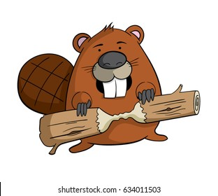 Cartoon beaver with a piece of wood