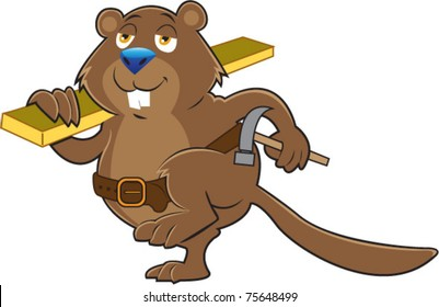 A cartoon beaver walking with a board over his shoulder carrying a hammer while working at a construction site