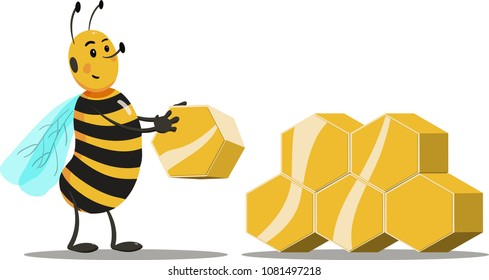 Cartoon bee building hive of gold