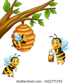 Cartoon bee carry honey and honeycomb. vector illustration