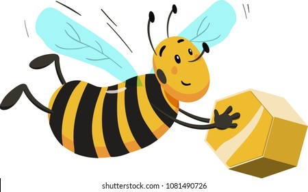 Cartoon bee carrying block of gold