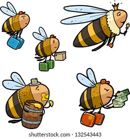 cartoon bee characters. Swarming bees. Queen bee, bees workers and fat drone guzzler. Color sketch illustration