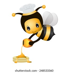 cartoon bee chef pouring honey on top pancakes