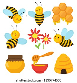 4546c6830 Cartoon bee. Cute bees, flowers and honey. Isolated vector characters set.  Illustration
