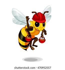 cartoon bee. bee flies with honey bucket