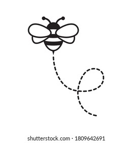 Cartoon Bee Flying on a Dotted Route. Vector illustration isolated on background.