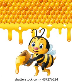 Cartoon bee holding bucket with honeycomb and honey dripping
