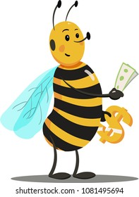 Cartoon Bee holding Money