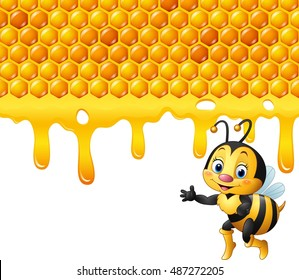 Cartoon bee with honeycomb and honey dripping