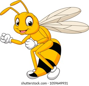 Cartoon bee hornet isolated on white background