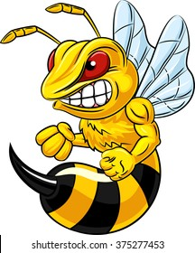 Cartoon bee mascot character isolated on white background