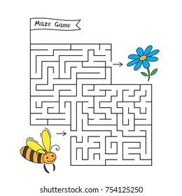Cartoon bee maze game. Funny game for children education