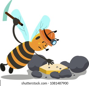 Cartoon bee mining gold or cryptocurrency