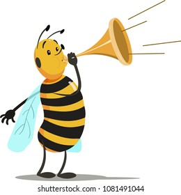 Cartoon bee playing trumpet