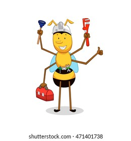 cartoon  bee. Bee is a plumber with wrench, air valves and a box of tools