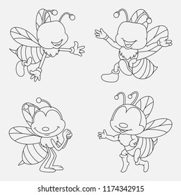 Cartoon Bee thin lines collection isolated on white background