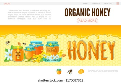 Cartoon beekeeping web page template with bees flowers pots of organic honey on honeycomb background vector illustration