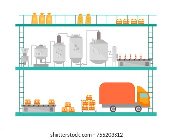 Cartoon Beer Brewing Process Production Drink Flat Style Design Equipment Conveyor Factory Isolated on White Background. Vector illustration
