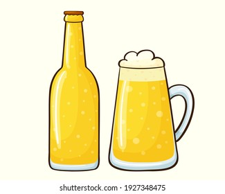 Cartoon beer can and glass. Vector illustration of a beer mug isolated on a white background. Foam drink