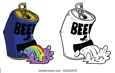 Cartoon beer can throwing up rainbows - Vector clip art illustration on white background